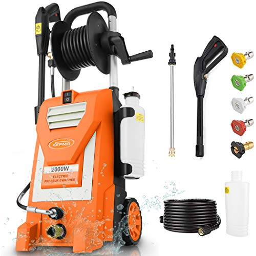 Kepma Electric Pressure Washer, 3800PSI 3.0GPM Power Washer 2000W High Pressure Cleaner Machine with 5 Nozzles, Foam Cannon, Hose Reel for Car Washing, Patio Furniture, Concrete, Deck (Orange)