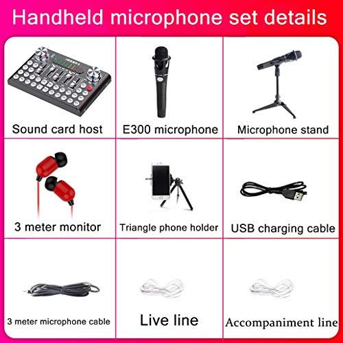 HWENJ Micrófono para Pc + Tarjeta De Sonido En Vivo, Bluetooth Mezclador De Audio USB Externo Cambiador De Voz Micrófono con 12 Tipos Sonido Electrónico para Teléfono Móvil,Computadora