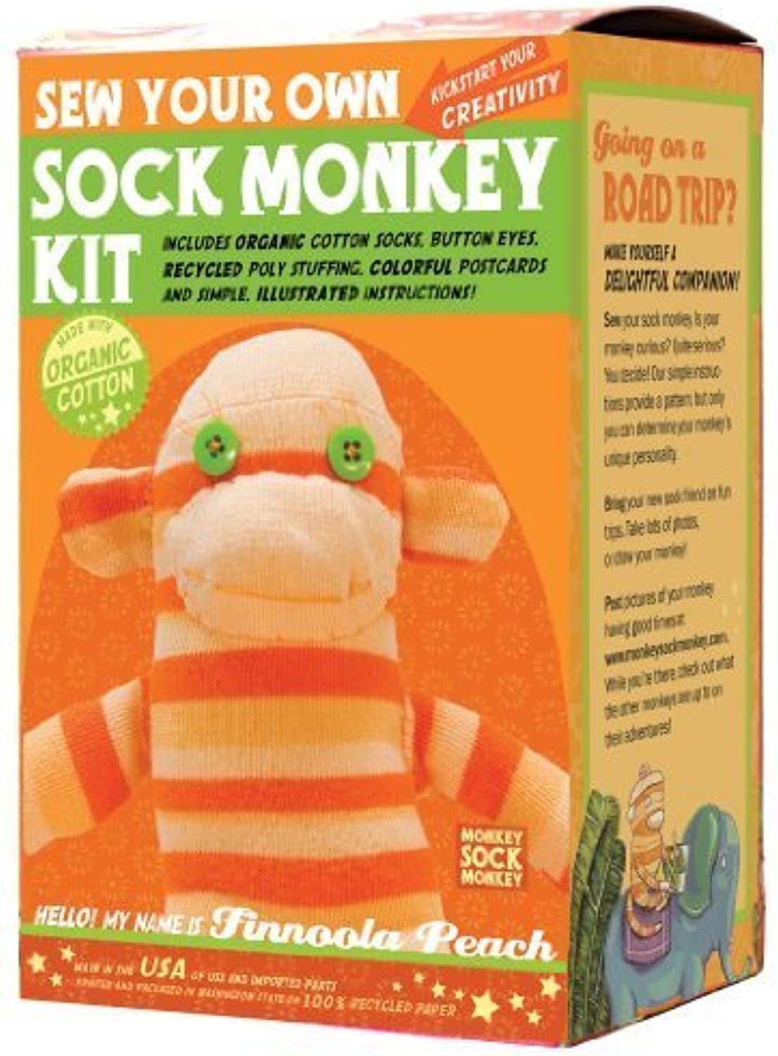 Sock Monkey Kit, Orange , Made in the USA by Monkey Sock Monkey
