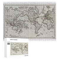 INOV ヴィンテージ 世界 電線地図(1855年) ジグソーパズル 木製パズル 500ピース キッズ 学習 認知 玩具 大人 ブレインティー 知育 puzzle (38 x 52 cm)