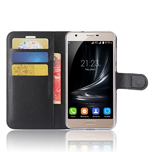 SMTR Blackview A7 Wallet Tasche Hülle - Ledertasche im Bookstyle in Schwarz - [Ultra Slim][Card Slot][Handyhülle] Flip Wallet Case Etui für Blackview A7