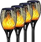 infray Solar Fackeln Lampen, Solarlampen für Außen, 96 LED Gartenfackeln Solar Flammenlicht, Solarleuchten Garten mit Flammeneffekt, IP65 wasserdicht, Solarleuchten für außen, Terrasse, Rasen - 4 Pack