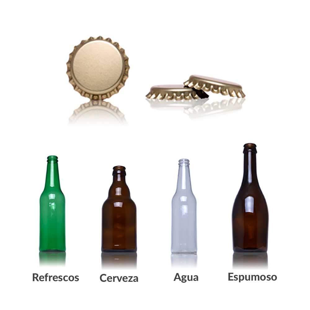 Chapas para botellas de cerveza doradas pack de 50 chapas ideales para botellines para hacer cerveza artesana chapa con diametro 26mm color dorado cierre hermetico (200 unidades): Amazon.es: Hogar