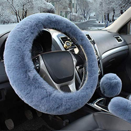 Fluffy Steering Wheel Cover,Fuzzy Steering Wheel Cover with Handbrake Cover Gear Shift Cover Set,Anti-Slip,Winter Warm, Universal 15 Inch 1 Set 3 Pcs Gray