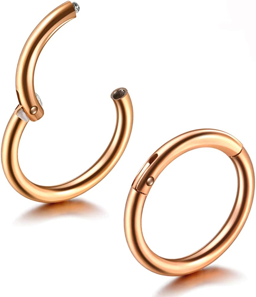 Jusway Nose Ring Piercings Hinged Segment 3/8 (10mm) Titanium Hoop Earring Daith Cartiliage Jewelry 1Pair