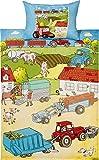 Erwin Müller Kinder-Bettwäsche, Bettgarnitur Bauernhof-Tiere Renforcé bunt Größe 100x135 cm (40x60 cm) - mit praktischem Reißverschluss (weitere Größen)