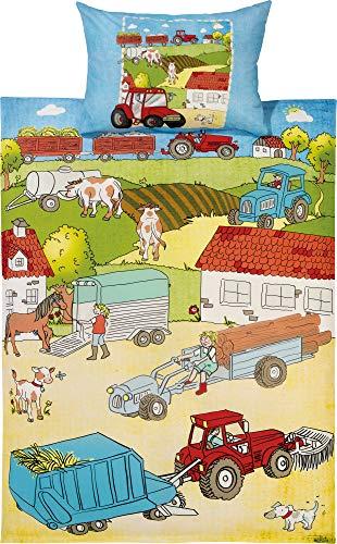 Erwin Müller Kinder-Bettwäsche, Bettgarnitur Bauernhof-Tiere Renforcé bunt Größe 135x200 cm (80x80 cm) - mit praktischem Reißverschluss (weitere Größen)