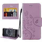 HYC Carcasa de telefono For mariposas BQ Aquaris X5 Plus Love Flowers Relieve Funda de cuero con tapa horizontal con soporte y ranuras for tarjetas, billetera y cordón ( Color : Light Purple )