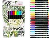 Jantaré Textilmarker | 20 Textilstifte waschmaschinenfest - Stoffmalstifte ideal zum bemalen von T-Shirts, Schuhen, Kappen und Taschen