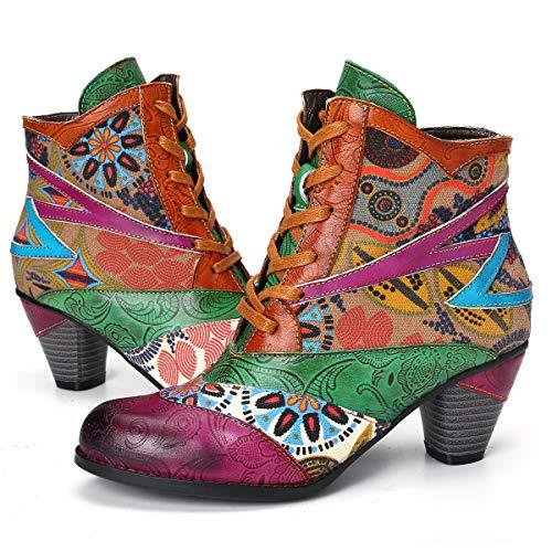 gracosy Leder Stiefeletten Damen mit Absatz, Bunte Stiefel mit Lederschnalle und Reißverschluss Klassische Retro Handgemachte Spleißmuster Stiefel 2019 Herbst Winter Schuhe Enegant Party Schuhe