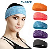 DASUTA Mens Headband 5 Pack Guys Sweatband Headbands for Sports,Running,Crossfit,Basketball Wocking Out and Performance Stretch & Moisture Wicking Men and Women Unisex Style 2 - (5 Pack)