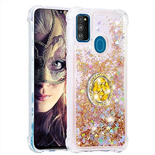 Coque pour Samsung Galaxy M30s,Brillante Cristal Diamant Anneau Socle de téléphone Liquide Dégradé Transparente Silicone TPU Étui Antichoc Coques(Or)
