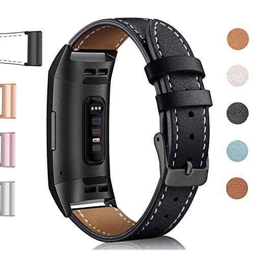 Hotodeal Leather Band Compatible Charge 3 & Charge 3 SE Fitness Tracker, Classic Replacement Genuine Leather Bands Metal Connectors Women Men Small Large Size Silver, Rose Gold, Black