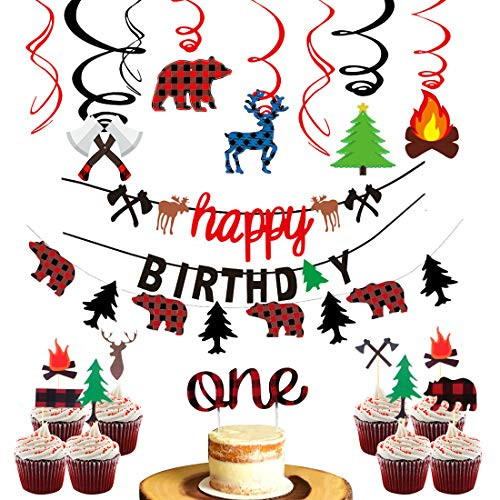 Lumberjack Party Decorations Camping Birthday Banner and Garland, Timber Buffalo Plaid Hanging Swirls, Lumberjack Cake Topper for Birthday Party, Baby Shower