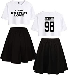 Black Pink Kill This Love Negro-Blanco Estampado T-Shirt and Skirt Sets Camiseta y Falda para Mujeres y Muchachas