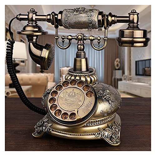 SHUBIAO-xiaoji Teléfono Antiguo Europeo Teléfono Home Retro Teléfono Retro Turnato Turnato de Moda Tarjeta Inalámbrica Antigua, Teléfono con Cable con Redial for Hogar, Dial Rotary Teléfono Antiguo