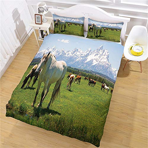 PERFECTPOT King Size Duvet Cover Set Snow Mountain Horse Grass Bedding Quilt Set with 2 Pillowcases in Polyester with Zipper Closure, 1 Duvet Cover 230x220 with 2 Pillowcases for Children Adults