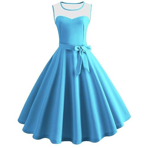 Pingtr Vintage Hepburn Princess Dress, 20's-50's Women Bodycon Sleeveless Casual Retro Evening Party Prom Swing Dress