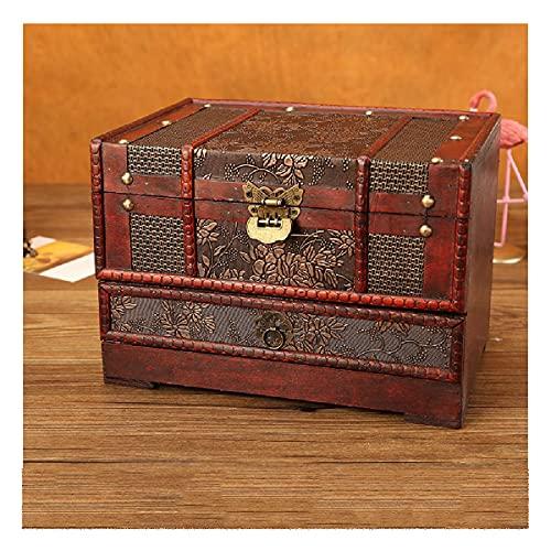 LEIKEI Caja de Almacenamiento de joyería de Madera, Retro con Espejo Cofre de joyería de Tesoro Escritorio con Organizador de Cerradura Decoración Cumpleaños niñas,A 1