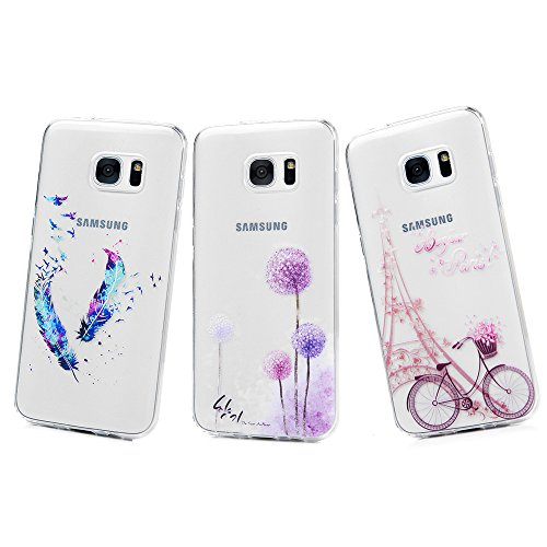 Maxfe.Co - Confezione di 3 custodie in silicone trasparente, morbide e antiurto per Samsung Galaxy S7 Edge