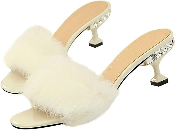 LBTSQ-la Mode Porter Wild Diamond de Poils de Lapin Ceinture Chaussures.