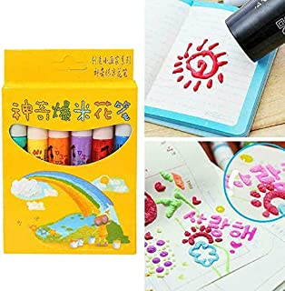 Thethan Popcorn Pen 6 Pcs Magic Popcorn Pen Puffy 3D Art Safe for Greeting Birthday Cards Children