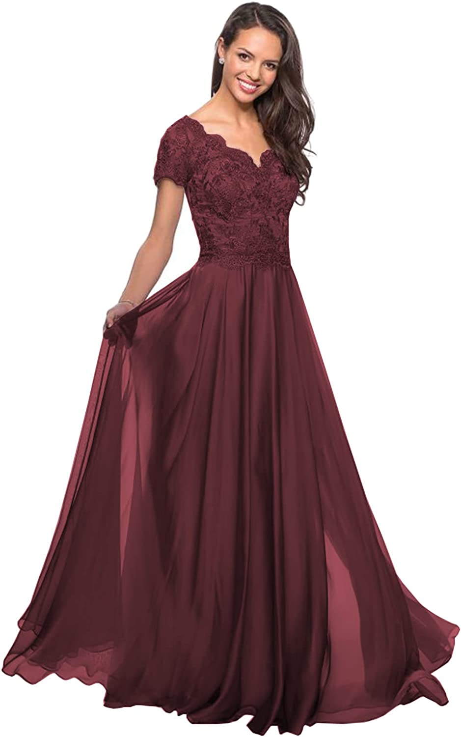 Women's V-Neck Lace Long Mother of The Bride Dress with Pockets Formal Evening Gown