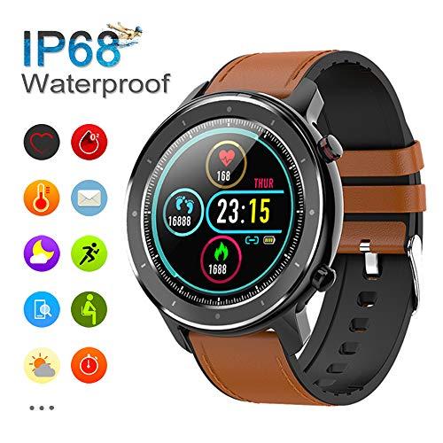 Smartwatch Für Damen und Herren, Fitness Tracker IP68 wasserdichte Fitnessuhr mit Voller Touchscreen, Pulsmesser, Schrittzähler, Kalorienzähler, Kompatibel mit Android IOS Xiaomi Samsung Huawei