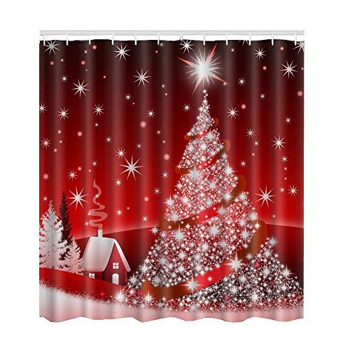 Yinrunx Christmas Shower Curtain,70x70 Inch,Merry Christmas Santa Claus Snowman and Trees Print Pattern Bathroom Decoration Curtain