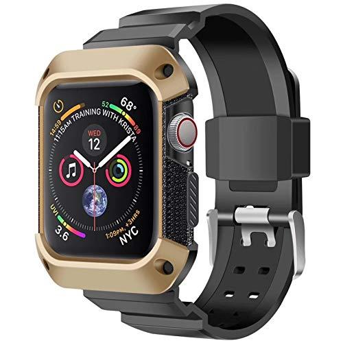 LRJBFC Strap + Funda Protectora para Apple Watch 44 mm 40 mm Marco de Parachoques Banda de Pulsera Deportiva de Silicona para iWatch Series 6 SE 5 4 38mm 42mm