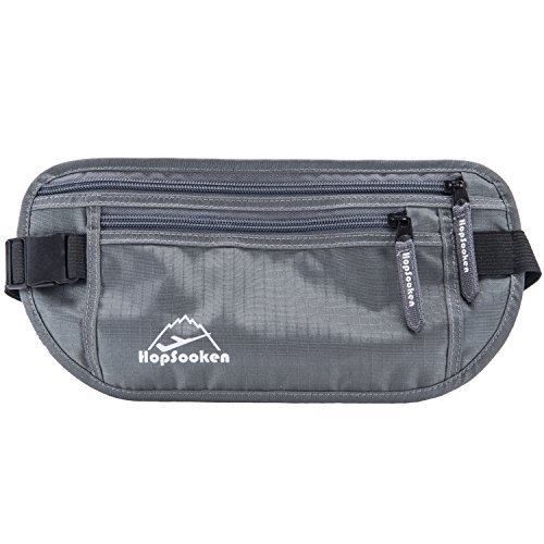 HOPSOOKEN Travel Money Belt: Waist Pack for Running and Cycling, RFID, Comfortable, Durable and Lightweight Hidden Travel Passport Wallets. (Gray)