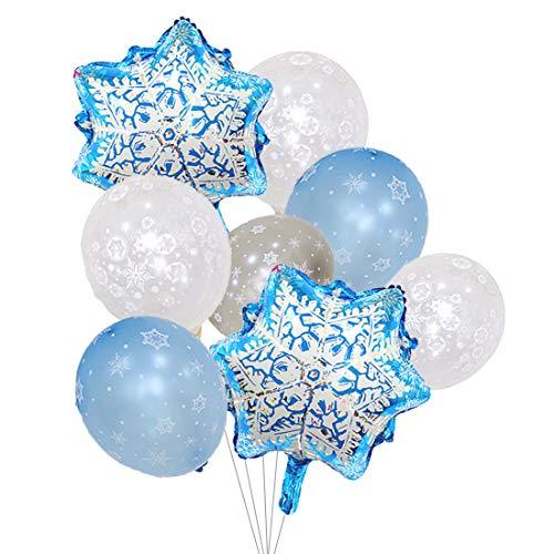 Globos de copo de nieve con perlas plateadas y transparentes para decoración de invierno de Navidad y fiesta de cumpleaños