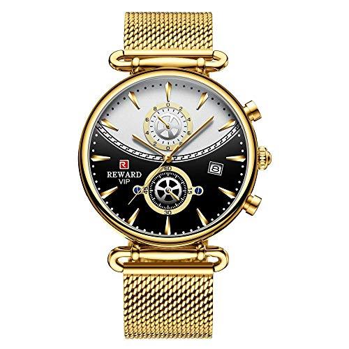 Reloj Casual de Moda para Hombre Reloj multifunción Impermeable Reloj de Pulsera de Cuarzo -D