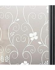 Qualsen Vinilo para Ventana Vinilo para Cristal de Privacidad Vinilo de Ventana Esmerilada Decorativa para Baño Despacho Cocina Anti-UV 60 x 400 cm, Flor Blanca