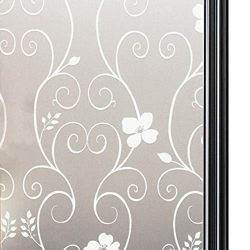 Qualsen Statische Fensterfolie Blickdicht Sichtschutzfolie selbsthaftend Milchglasfolie Sichtschutz Folie Blume Dekofolie Anti-UV für Bad Küche Schlafzimmer Büro, 90 x 200 cm