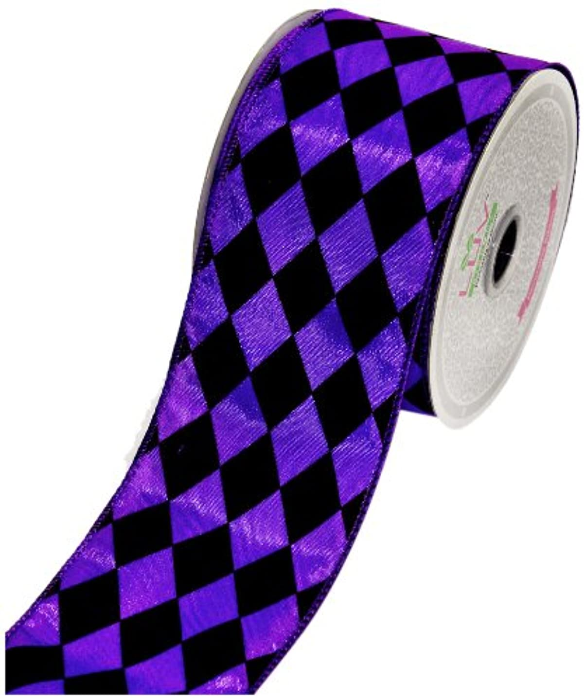 LUV RIBBONS by Creative Ideas 2-1/2-Inch Diamond Print Ribbon, 10-Yard, Purple with Black