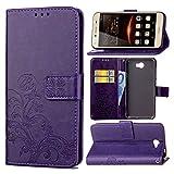 Guran Funda de Cuero PU para Huawei Y5 II Smartphone Función de Soporte con Ranura para Tarjetas Flip Case Trébol de la suerte en Relieve Patrón Cover - Púrpura
