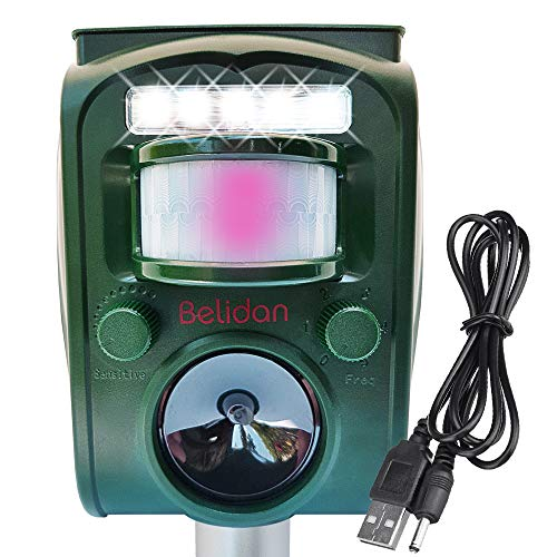 Animal Deterrent Device Solar Powered with Motion Sensor LED Lights and Alarm - Animal Repellent Ultrasonic Outdoor Animal Repeller - Dog Rat Raccoon Repellent Deer Skunk Repellent Mice Cat Repellent