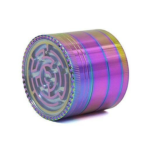 YANBA Rainbow Grinders 2 Inches 4 Parts Zinc Alloy Pollen Grinder Tobacco Grinder Colorful Metal Grinder