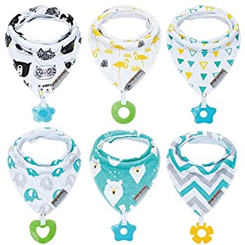 Baby Bandana Drool Bibs 6-Pack and Teething Toys 6-Pack Made with 100% Organic Cotton Absorbent and Soft Unisex  Vuminbox   6-Pack Unisex
