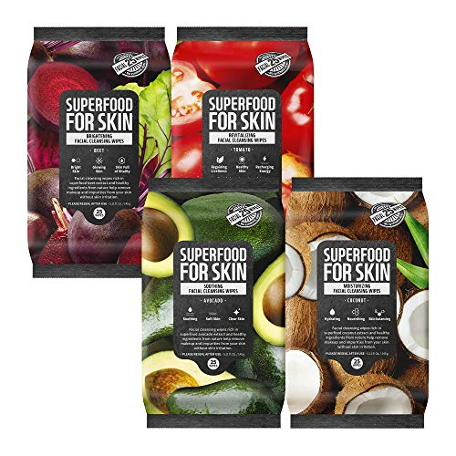 FARMSKIN Facial Cleansing Wipes Makeup Daily Remover for All Skin Types Superfood For Skin Quick and Easy, 25 Count (Pack of 4)