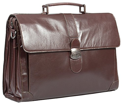 HIDEONLINE Italian Brown Real Leather Briefcase for 17' LAPTOPS