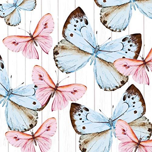 Home Collection Servietten (2er Set / 40Stück) 3-lagig 33x33cm Schmetterlinge Butterfly Dream