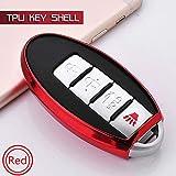ZYTN Funda Cubierta TPU Soft Set Fob Smart Protect Shell Bag para Nissan Qashqai J10 J11 X-Trail T31 T32 Pícaro Tiida Pathfinder Murano,Red