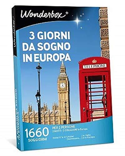 Wonderbox - Cofanetto Regalo per Mamma - 3 Giorni da Sogno in Europa - Valido 3 Anni e 3 Mesi
