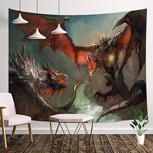 Dragon Tapestry, Medieval Fantasy World Fire Breathing Dragon Fighting Large Monster Gothic Theme Wall Tapestry, Mythology Art Tapestry Wall Hanging for Bedroom Living Room Dorm, 71X60IN