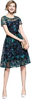 パーティードレス 結婚式 ワンピース 花柄 刺繍 ブライズメイド 結婚式 ワンピース ドレス フォーマル 二次会 パーティー 30代 40代 50代 フォーマルドレス ミセス レディース 刺繍 レース 袖あり 袖付き 緑 グリーン