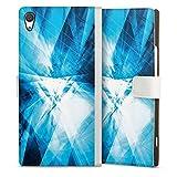 DeinDesign Klapphülle kompatibel mit Sony Xperia XA1 Ultra Handyhülle aus Leder weiß Flip Case Kristall Spiegel Linien