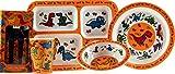 LP Dinosaur Ensemble de vaisselle 5 pièces en mélamine pour enfant Assiette, bol, plateau, tasse et couverts en métal