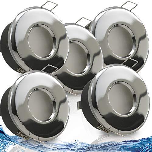MERANO IP65 5er Set ultra flach LED 5W = 50W 230V Decken Einbaustrahler rund Chrom glänzend Warmweiss 3000k nur 50 mm Einbautiefe Bad Feuchtraum Einbauleuchte quadratisch